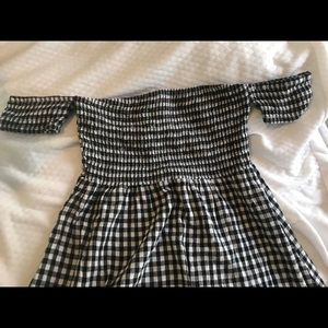 Black and white gingham off the shoulder sundress